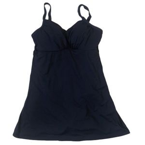 Lands' End Navy Swim Dress One Piece Swimsuit